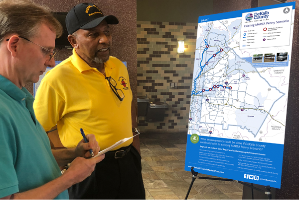Attendees discuss DeKalb County Transit Master Plan Penny Scenario at a Public Meeting in June